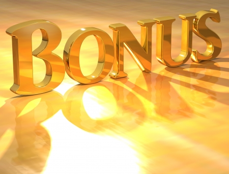 3D Bonus Gold text over yellow background  Stock Photo