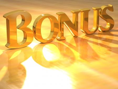 3D Bonus Gold text over yellow background  Standard-Bild