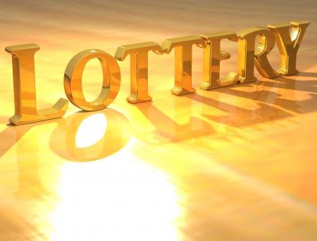 Lotería de Oro de texto en 3D sobre fondo amarillo