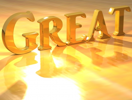 3D Great Gold text over yellow background  photo