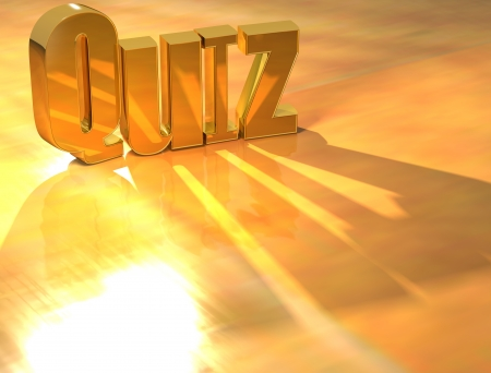 3D Quiz Gold text over yellow background  photo