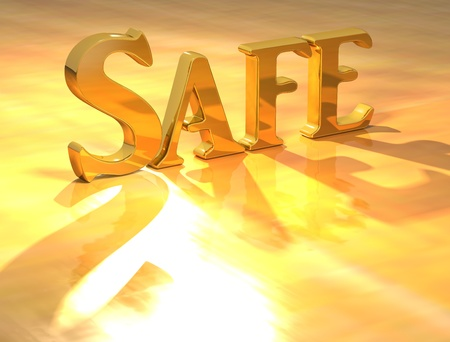 3D Safe Gold text over yellow background Stock Photo - 13613959