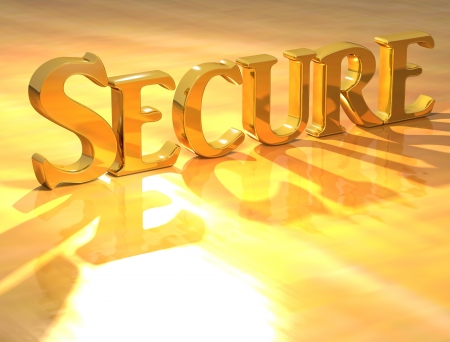 risky innovation: 3D Secure Gold text over yellow background  Stock Photo