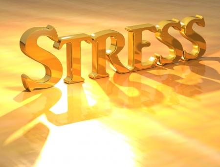 stressful: 3D Stress Gold text over yellow background  Stock Photo