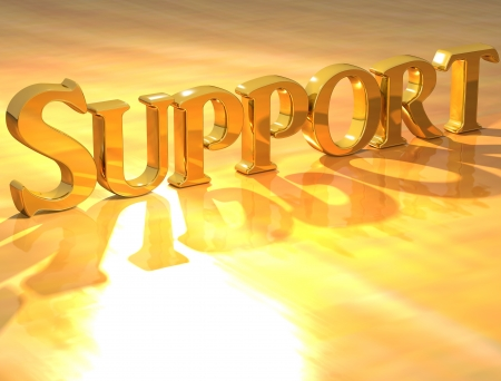 3D Support Gold text over yellow background  photo