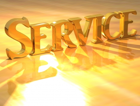 3D Service Gold text over yellow background  photo