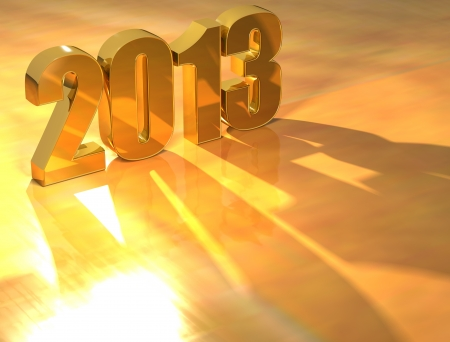 3D 2013 Gold text over yellow background  photo