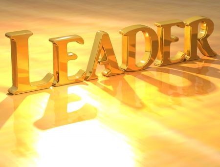 3D Leader Gold text over yellow background  photo