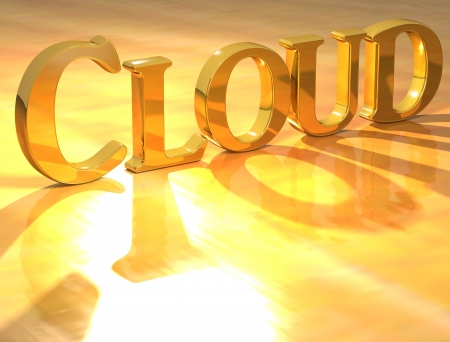 3D Cloud Gold text over yellow background  photo