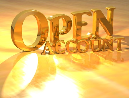 3D Open account Gold text over yellow background Stock Photo - 13614039