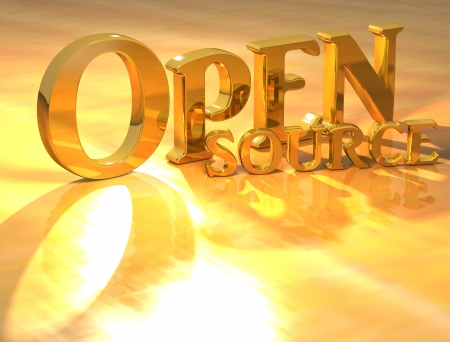 3D Open source Gold text over yellow background  photo