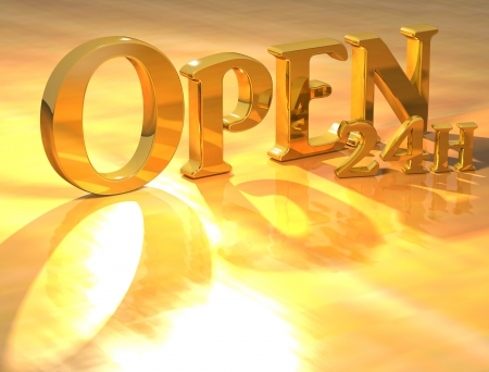 24: 3D Open 24h Gold text over yellow background  Stock Photo