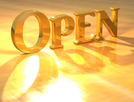 3D Open Gold text over yellow background  photo
