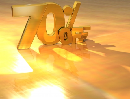 3D 70 Percent Gold Text over yellow background photo