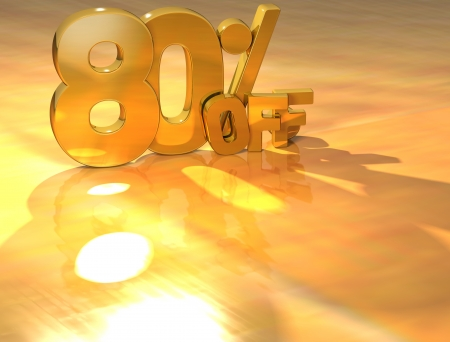 3D 80 Percent Gold Text over yellow background photo