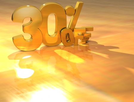 3D 30 Percent Gold Text over yellow background photo