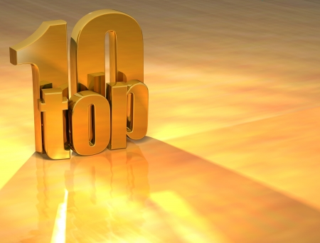 3D Top 10 Gold Text over yellow background Stock Photo - 13613994