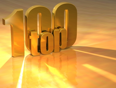3D Top 100 Gold Text over yellow background photo