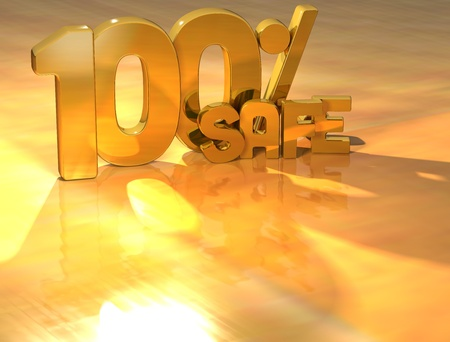 3D 100 Percent Safe Gold Text over yellow background Stock Photo - 13614032