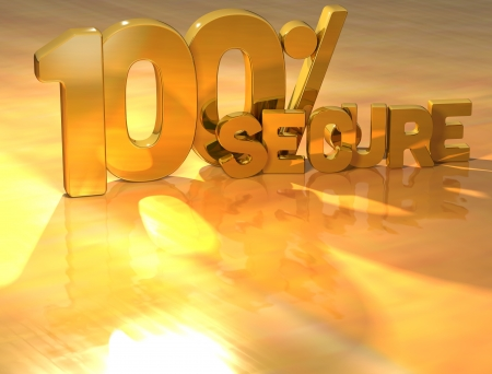 3D 100 Percent Secure Gold Text over yellow background Stock Photo - 13614033