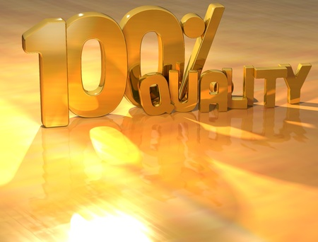 3D 100 Percent Quality Gold Text over yellow background Stock Photo - 13614031