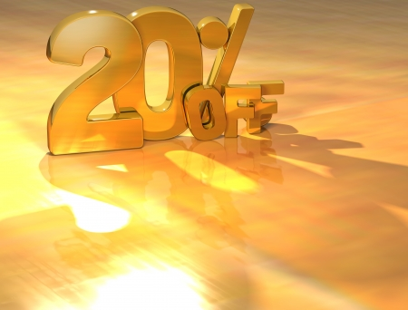 3D 20 Percent Gold Text over yellow background photo