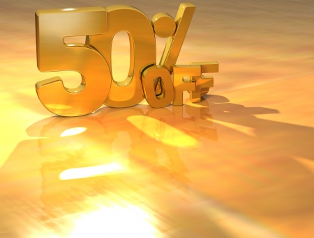 3D 50 Percent Gold Text over yellow background Stock Photo - 13614035