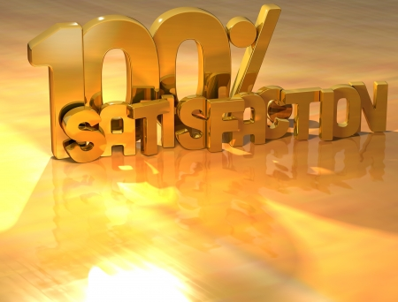3D 100 Percent Satisfaction Gold Text over yellow background