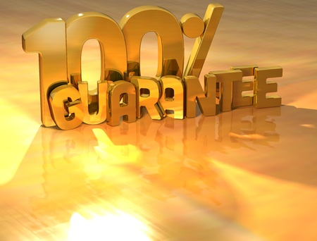 3D 100 Percent Guarantee Gold Text over yellow background Stock Photo - 13637985
