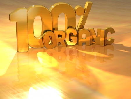 3D 100 Percent Organic Gold Text over yellow background photo