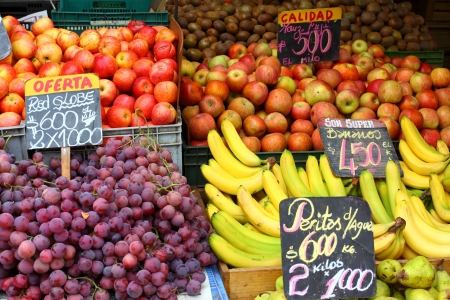 valparaiso: Fresh fruits and vegetables at the local market in Valparaiso, Chile.  Stock Photo