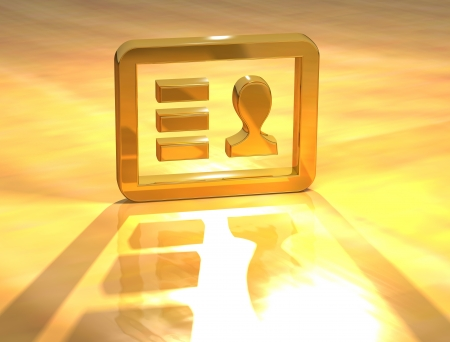 3D Identity Card Gold Sign over yellow background photo