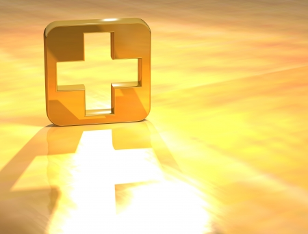 3D First-aid Gold Sign over yellow background Stock Photo - 13678124