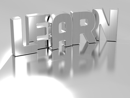 3D Learn Silver Text over grey background photo