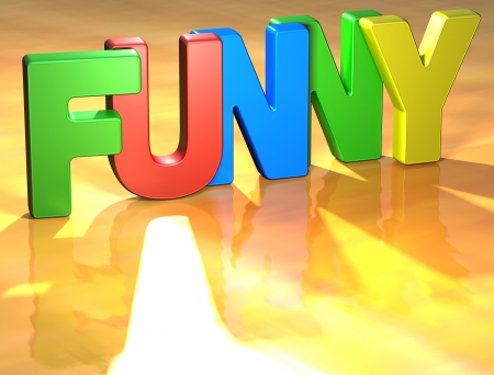 Word Funny on yellow background (high resolution 3D image) Stock Photo - 13678149