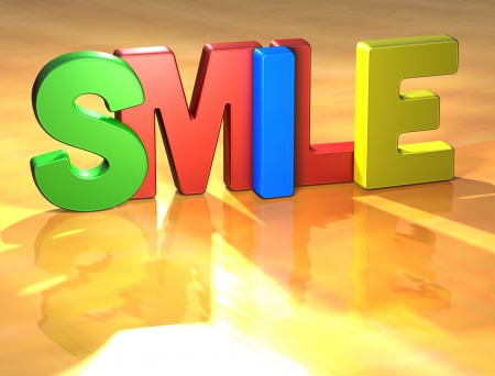green smiley face: Word Smile on yellow background (high resolution 3D image)