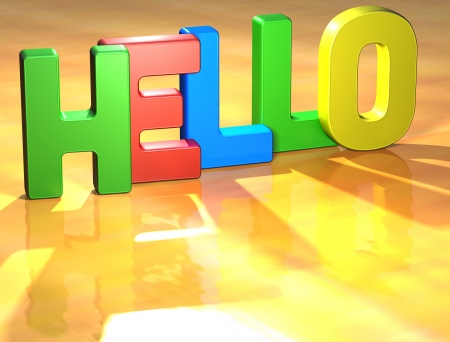 Word Hello on yellow background (high resolution 3D image) photo