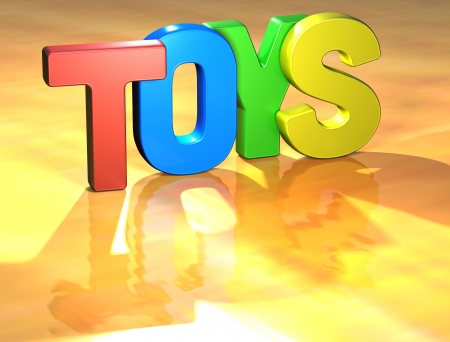 Word Toys on yellow background (high resolution 3D image) Stock Photo - 13678156
