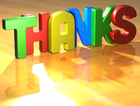 many thanks: Word Thanks on yellow background (high resolution 3D image)