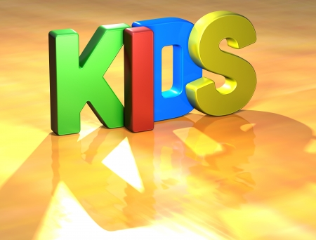 Word Kids on yellow background (high resolution 3D image) Stock Photo - 13678147