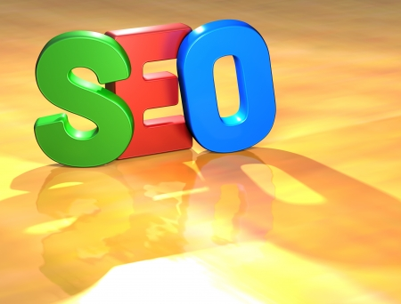 Word Seo on yellow background (high resolution 3D image)