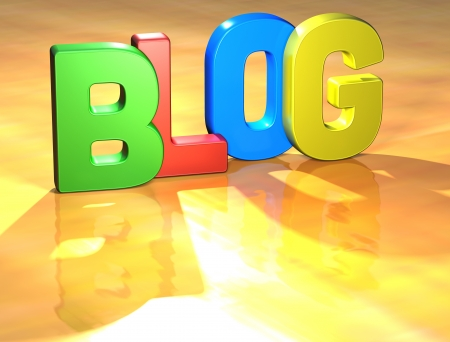Word Blog on yellow background (high resolution 3D image) Stock Photo - 13678137