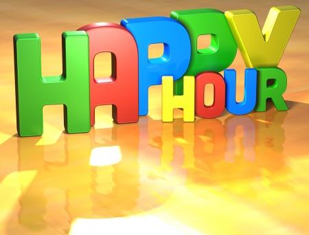 buen trato: Palabra Happy Hour en el fondo amarillo (alta resoluci�n de im�genes en 3D) Foto de archivo