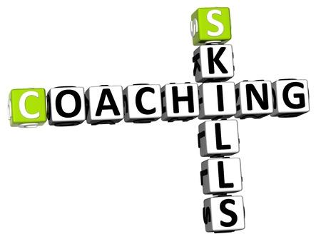 job skills: 3D Habilidades coaching Crucigrama sobre fondo blanco