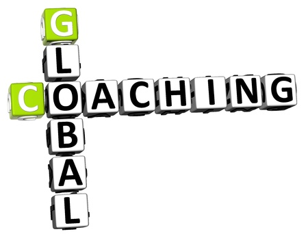 3D Global Coaching Crossword on white background photo