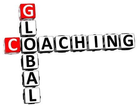 career coach: 3D Global Coaching Crossword on white background