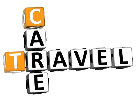 3D Care Travel Crossword on white background photo