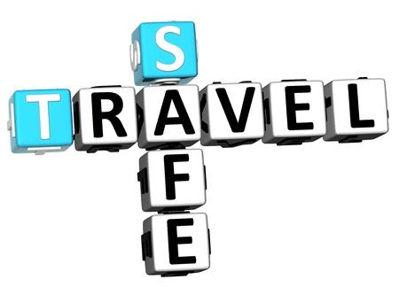 3D Safe Travel Crossword on white background Stock Photo - 13700589