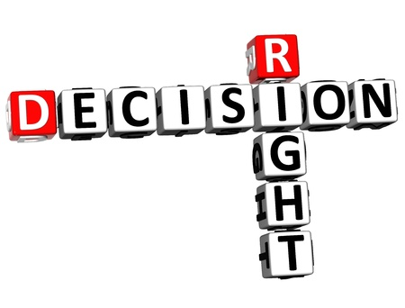 3D Right Decision Crossword on white background photo