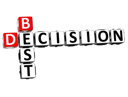 3D Best Decision Crossword on white background photo